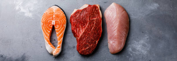 raw food salmon oily fish steak, beef meat and turkey breast - meat imagens e fotografias de stock