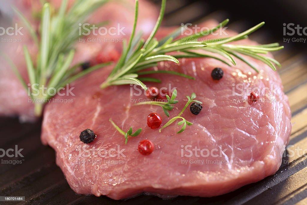Raw fresh and juicy steak filets royalty-free stock photo