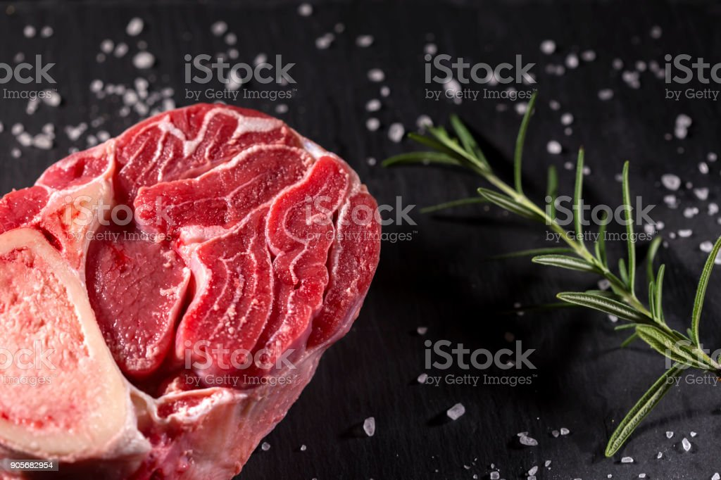 Raw fresh Beef Shank, lower part of cow's foreleg stock photo