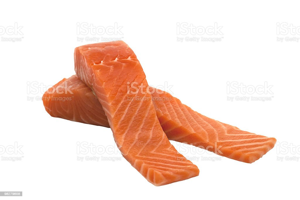 Salmone crudo fresco isolato raccordi foto stock royalty-free