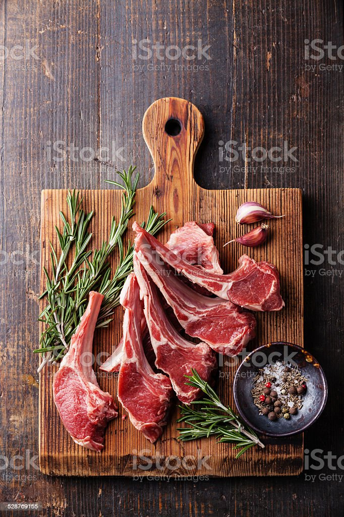 Raw fresh Lamb Meat ribs stock photo