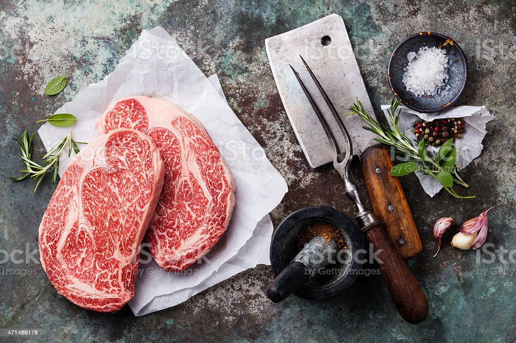 Raw fresh meat Angus Steak stock photo