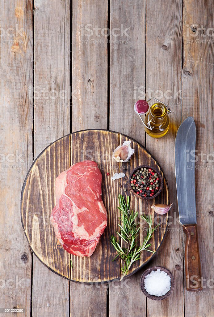Raw fresh meat Steak with salt and pepper stock photo
