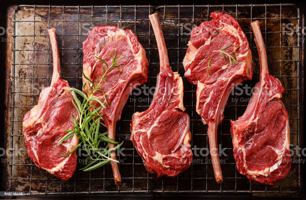 Raw fresh meat Veal ribs stock photo