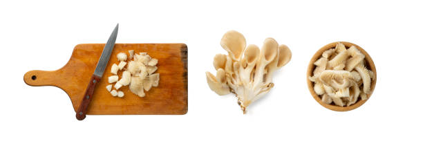Raw Fresh Oyster Mushrooms, Pleurotus or Abalone Mushrooms Raw chopped oyster mushrooms on wooden cutting board isolated on white background top view. Fresh sliced pleurotus or crushed abalone mushrooms close up mushrooms: oyster mushrooms isolated on white background stock pictures, royalty-free photos & images