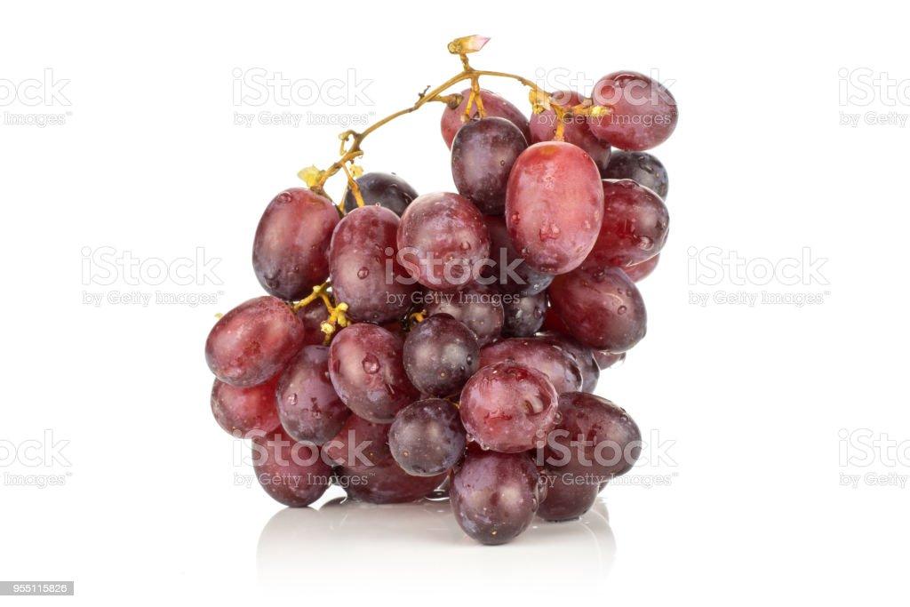 Raw fresh red globe grape isolated on white stock photo