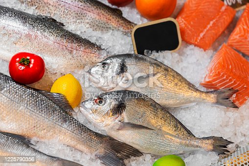 Raw frozen fish in the fish market