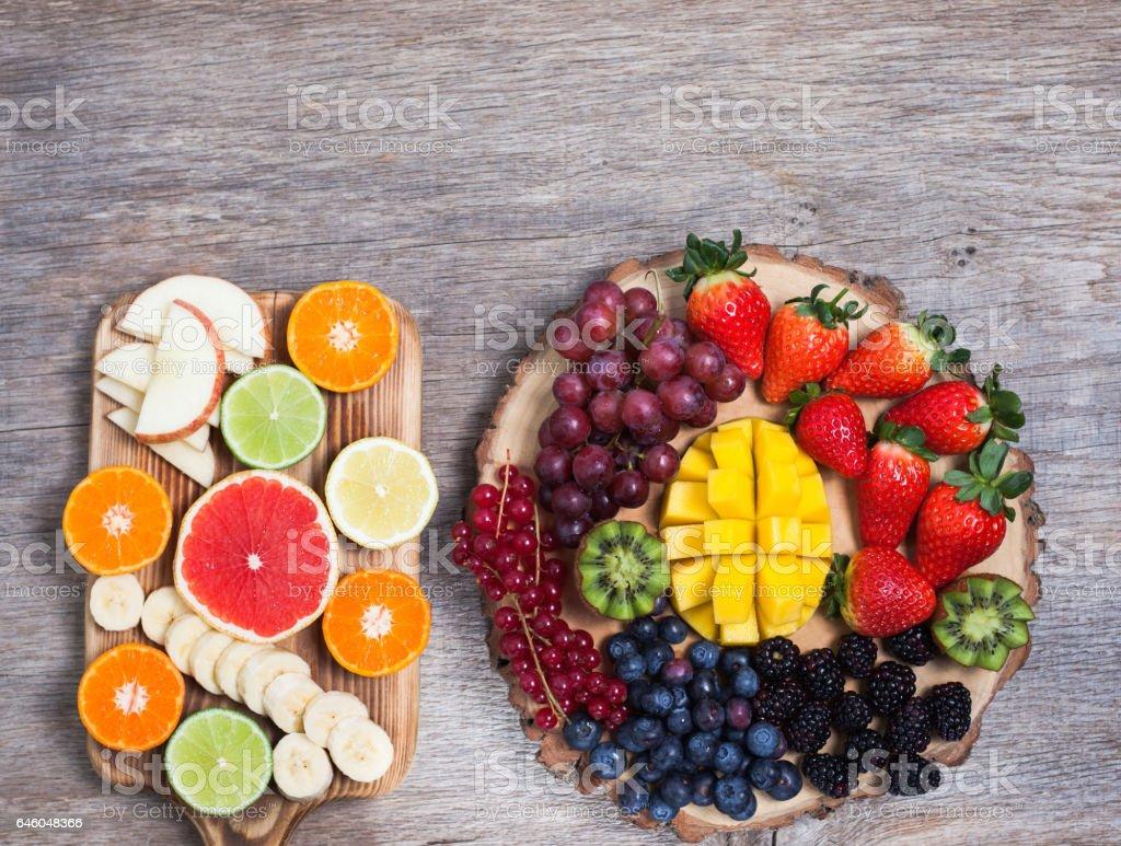 Raw fruit and berries platter stock photo