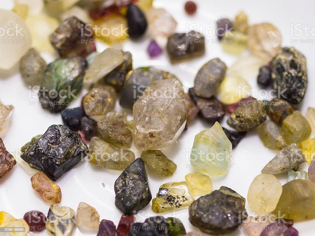 Raw Gemstones found in Sri Lanka stock photo