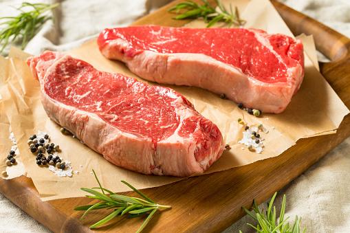 istock Raw Grass Fed NY Strip Steaks 1045603398