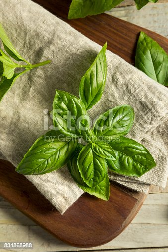 Raw Green Organic Basil Leaves Ready for Cooking