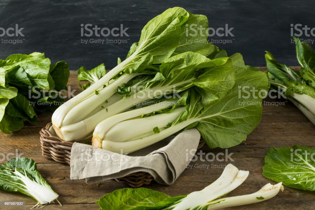 Raw Green Organic Bok Choy stock photo