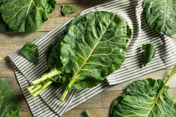 Raw Green Organic Collard Greens stock photo