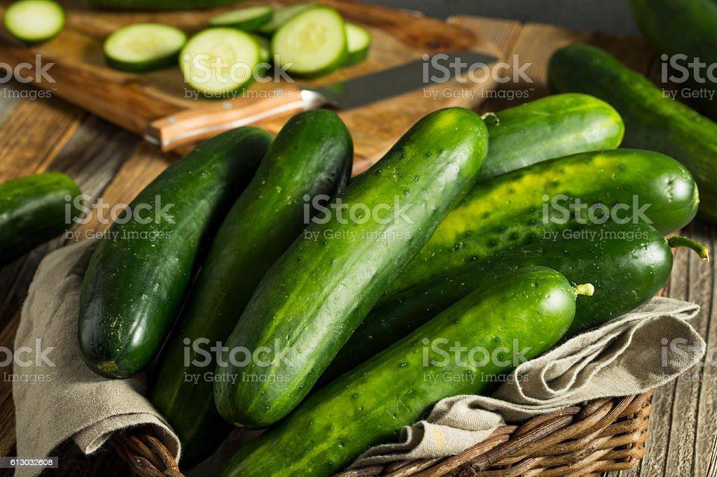 Raw Green Organic Cucumbers stock photo