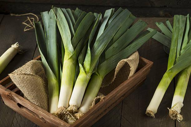 Raw Green Organic Leeks stock photo
