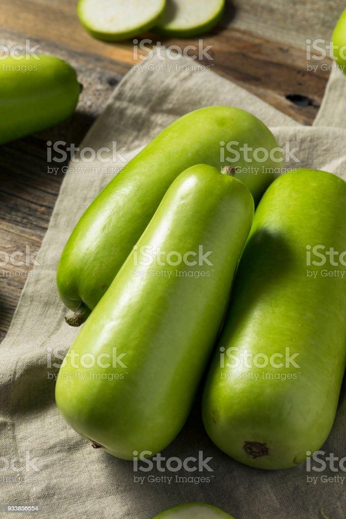 Raw Green Organic Opo Squash stock photo