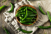 Raw Green Organic Serrano Peppers in  a Bowl