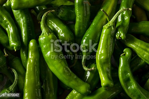 Raw Green Organic Shishito Peppers in a Bowl