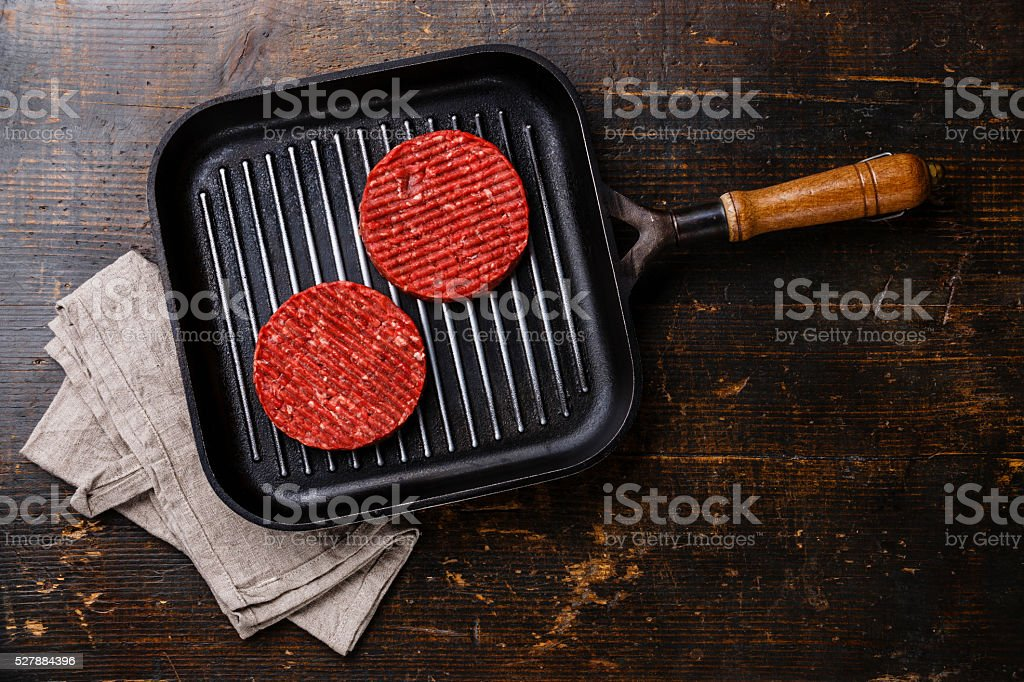 Raw Ground beef Burger cutlets on pan stock photo
