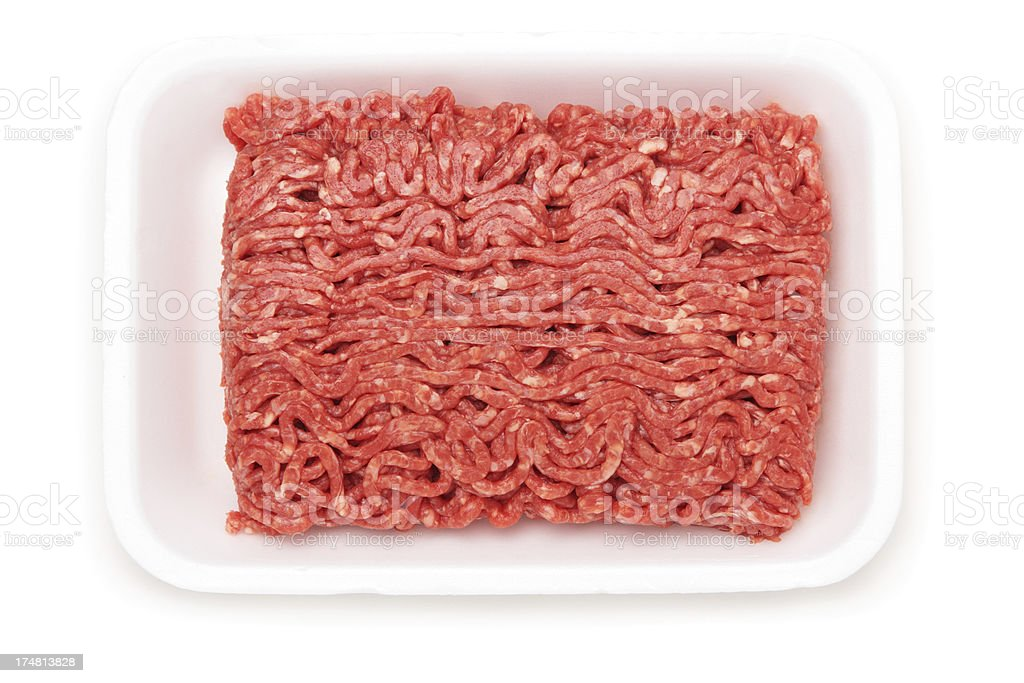 Raw Ground Beef in a White Tray stock photo