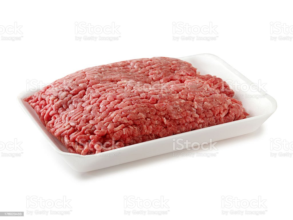 Raw Ground Beef in White Container royalty-free stock photo