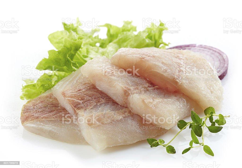 raw hake fish fillet pieces stock photo