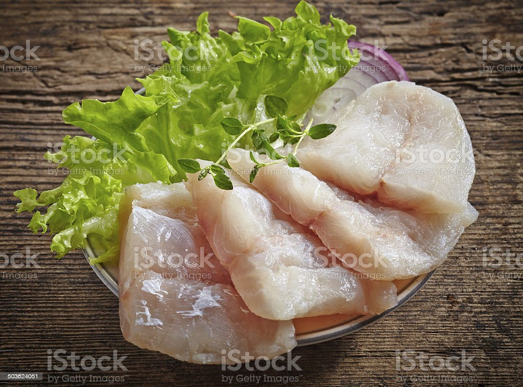 raw hake fish fillet pieces stock photo