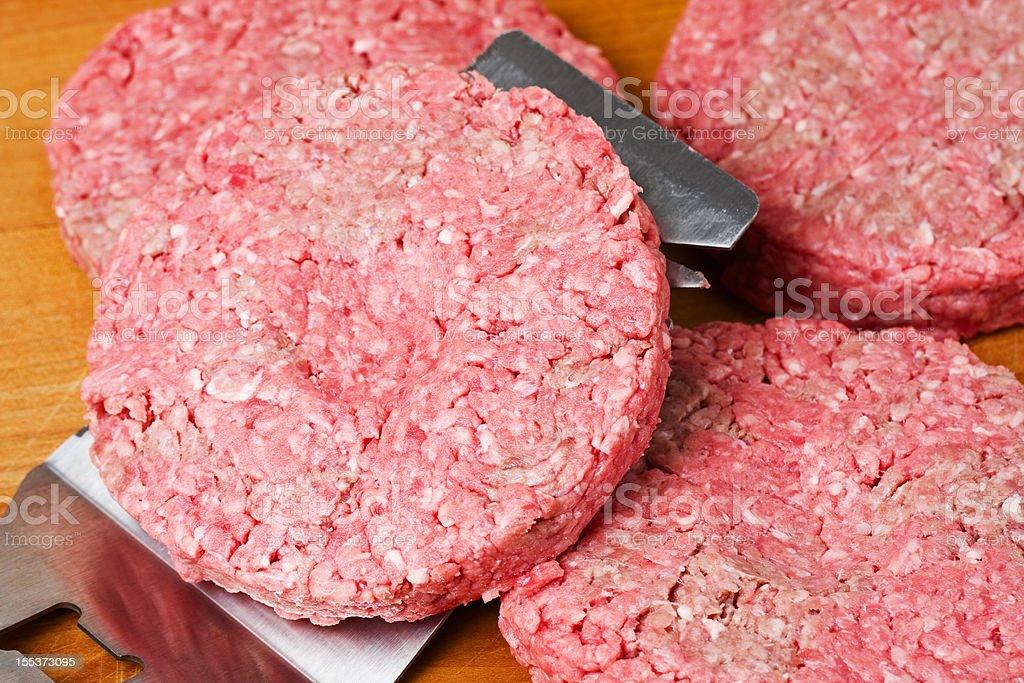 Raw Hamburger Patty on Spatula royalty-free stock photo