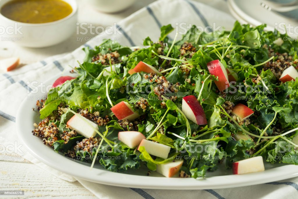 Raw Healthy Organic Kale and Apple Salad stock photo