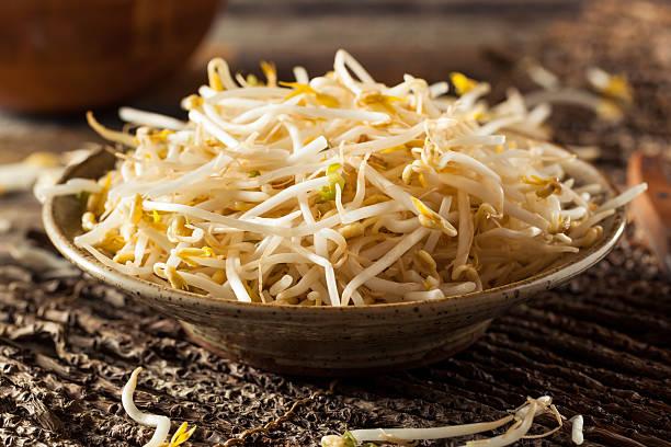 raw healthy white bean sprouts - pea sprouts bildbanksfoton och bilder