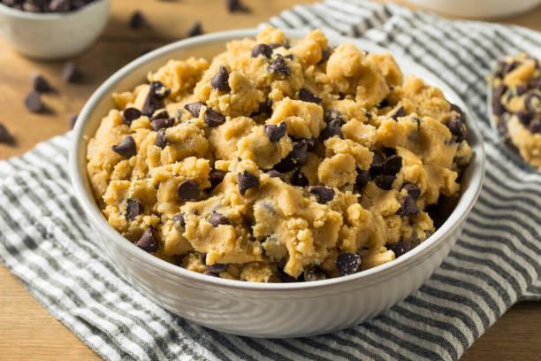 Raw Homemade Chocolate Chip Cookie Dough stock photo
