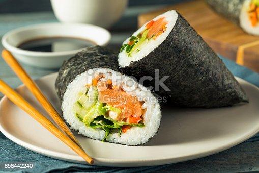 istock Raw Homemade Salmon Sushi Burrito 858442240