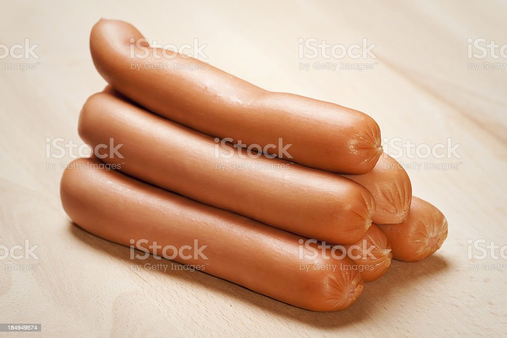 Raw hot dogs royalty-free stock photo
