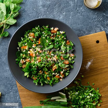 Raw ingredients cooking salad tabouli top view Healthy food