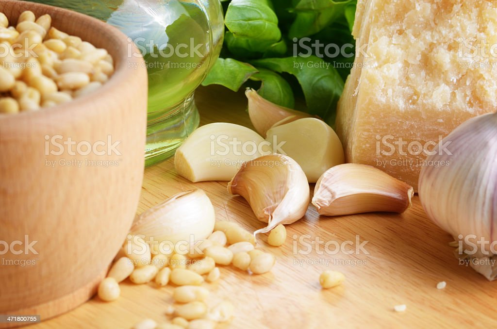 Raw Ingredients for pasta pesto royalty-free stock photo