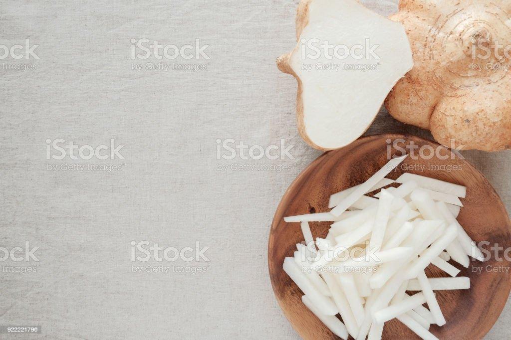 Raw Jicama, Mexican turnip, ketogenic food stock photo