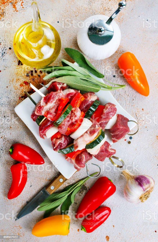 raw kebab stock photo