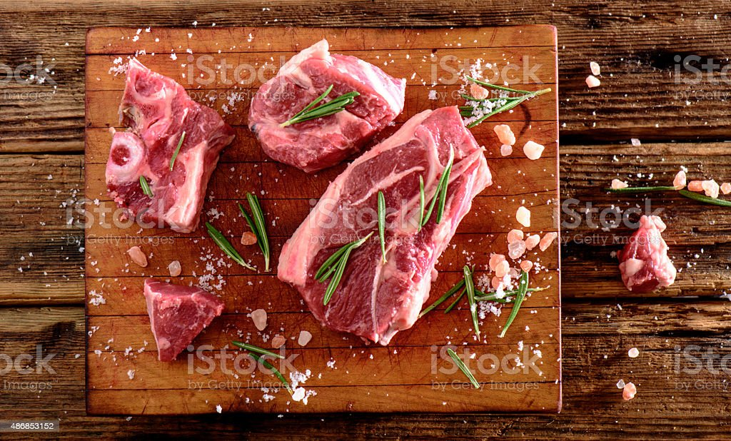 Raw Lamb Chop stock photo