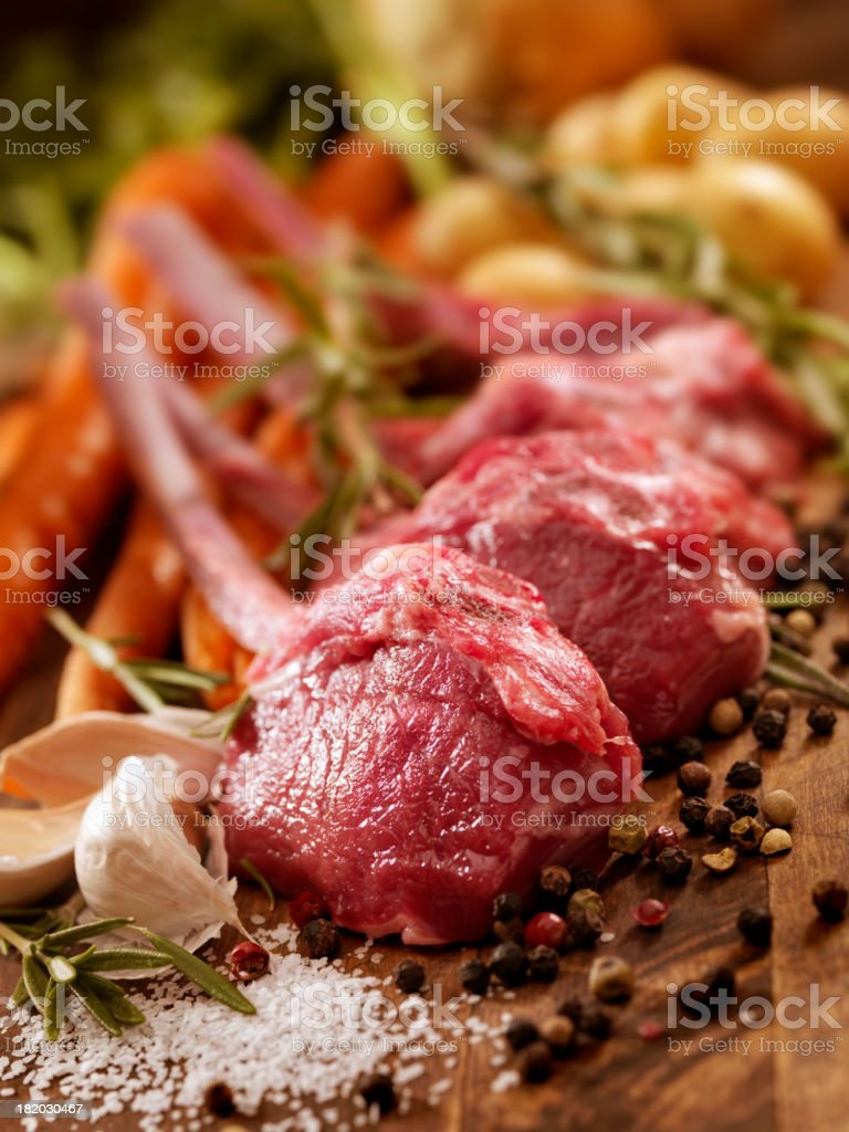 Raw Lamb Chops royalty-free stock photo