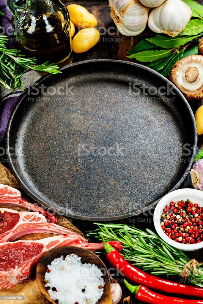 Raw lamb cutlets stock photo
