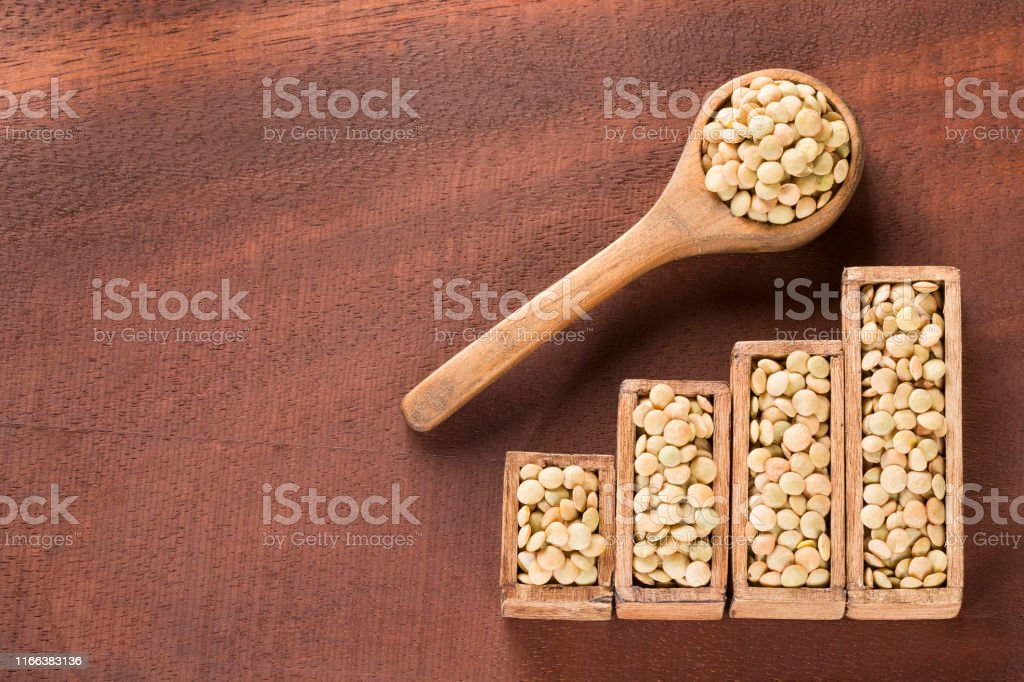 Raw lentils - Lens culinaris. Statistical table of sale and...