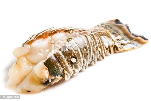 Raw lobster tail on white background
