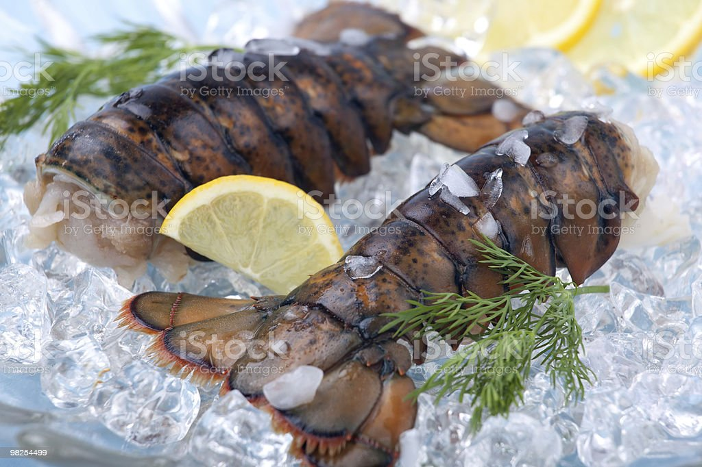 Raw lobster tails royalty-free stock photo