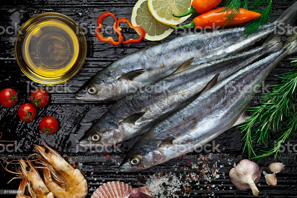 Raw mackerel stock photo