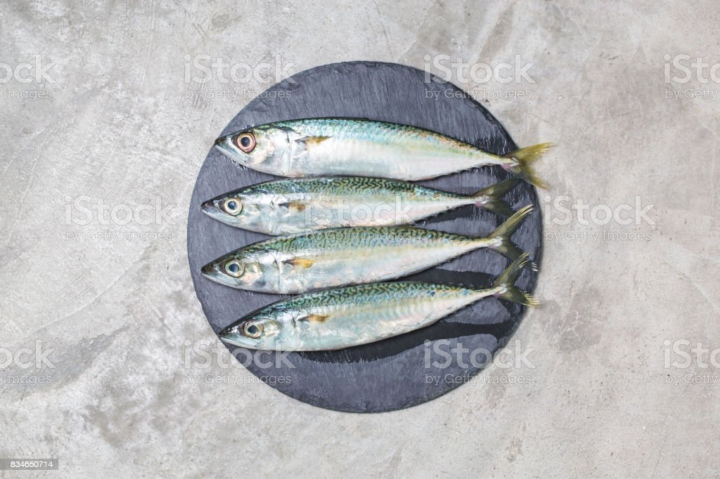 raw mackerel with and spices stock photo