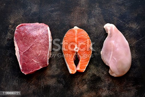 istock Raw marbled meat, red fish and chicken breast 1199690721