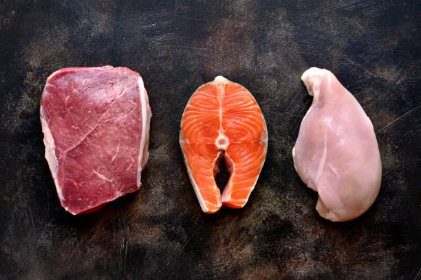 Rohmarmorfleisch, roter Fisch und Hühnerbrust – Foto