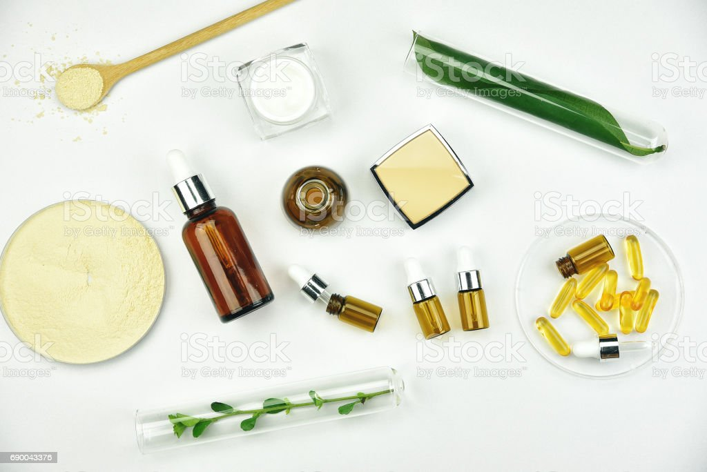 Raw material and cosmetics beauty product packaging, Natural organic ingredient for skin care. stock photo