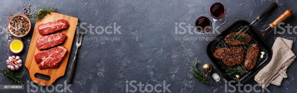 Raw meat and Grilled meat Top Blade steaks background copy space stock photo