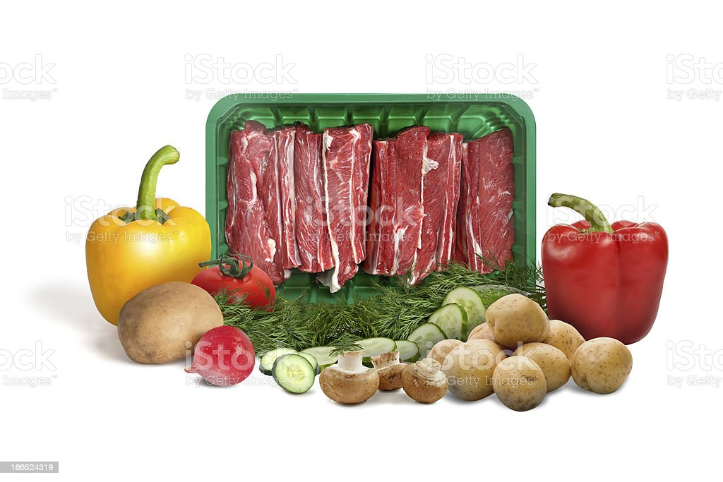 Raw meat and Vegetables royalty-free stock photo